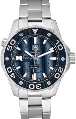 Tag Heuer Blue Stainless Steel Aquaracer WAJ2112 Card Men's Wristwatch 43 MM