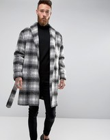 Asos Checked Overcoat With Belt in Black and White