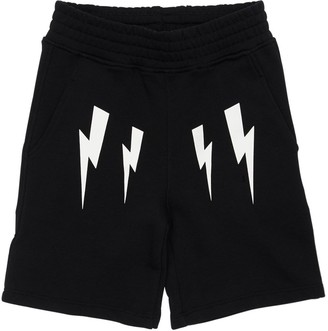 Neil Barrett Lightning Bolt Print Cotton Sweat Shorts