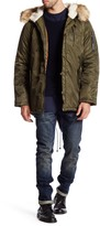 Members Only Military Hooded Faux Fur Trim Parka