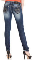 Miss Me Jeans, Skinny Dark-Wash Embroidered Rhinestone Fleur de Lis