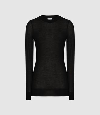 Reiss Aurellie - Semi-sheer Slim-fit Top in Black