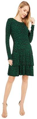 MICHAEL Michael Kors Cheetah MJ Flounce Dress (Moss) Women's Dress