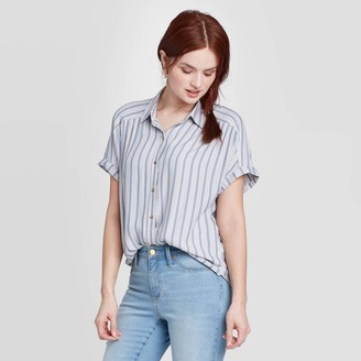 Universal Thread Women's Striped Short Sleeve Button-Down Camp Shirt - Universal ThreadTM