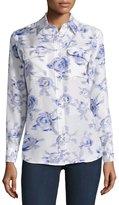 Equipment Slim Signature Button-Up Silk Blouse, Natural White/Blue