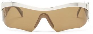 Loewe Logo-arm Rectangular Metal Sunglasses - Silver
