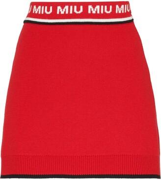 Miu Miu Jacquard Logo Knitted Skirt