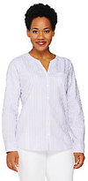 Denim & Co. As Is Striped Oxford Button Front Shirt