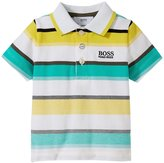 HUGO BOSS Striped Pique Polo (Baby) - Green/White/Yellow - 12 Months