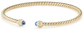 David Yurman 18k Gold CableSpira® Petite Bracelet w/ Hampton Blue Topaz, Size M