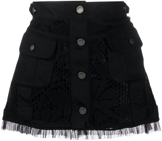 John Galliano Pre-Owned Floral Crochet Mini Skirt