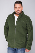 Yours Clothing BadRhino Khaki Zip Through Fleece