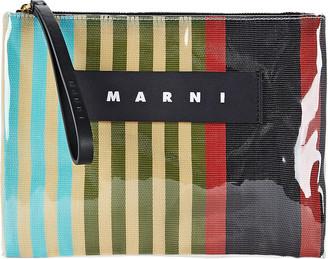 Marni PVC Striped Canvas Pouch