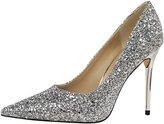 PPXID Women's Glittery Sequins Pointed-Toe Stilettos High Heel Wedding Pumps- 37 CN