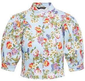 Marissa Webb Jules Cropped Floral-print Stretch-cotton Ottoman Top