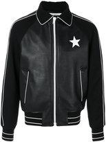 Givenchy star patch bomber jacket - men - Lamb Skin/Polyamide/Acetate/Wool - 48