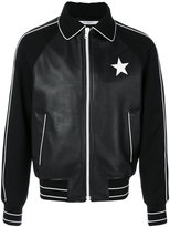 Givenchy star patch bomber jacket - men - Lamb Skin/Polyamide/Acetate/Wool - 50