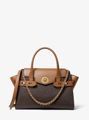 MICHAEL Michael Kors Carmen Large Logo and Leather Belted Satchel