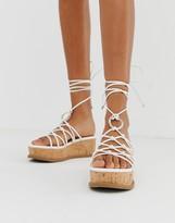 Asos Design DESIGN Twine spaghetti tie leg flatforms