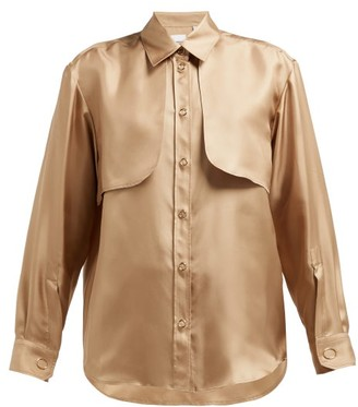 Burberry Panelled Silk-faille Blouse - Womens - Beige Gold