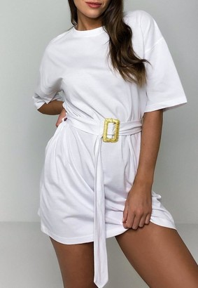 Missguided White Raffia Belted Oversized T Shirt Dress