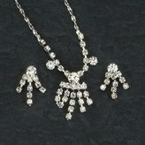 Gc Handcrafted Silver and Crystal Dangle Necklace and Earrings Set
