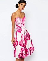 Asos Bright Pink Floral Bandeau Midi Prom Dress