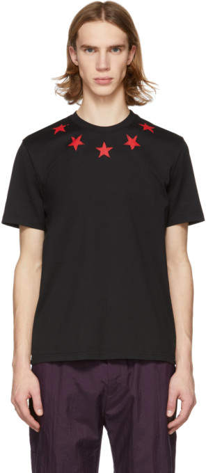 Givenchy Black and Red Vintage Stars T-Shirt