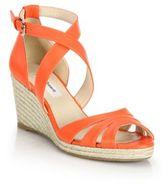 LK Bennett Priya Leather Espadrille Wedge Sandals