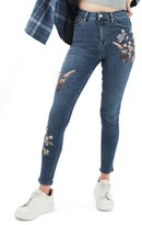 Topshop Women's Jamie Embroidered Skinny Jeans