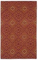 Tribeca Flatweave Red Motif Wool Rug (5' x 8')