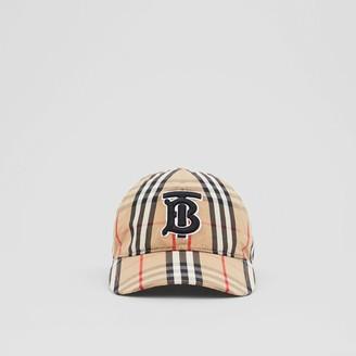 Burberry Monogram Motif Vintage Check Cotton Baseball Cap