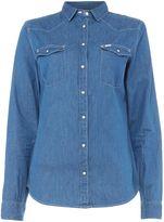 Lee Slim long sleeve western top in workwear blue