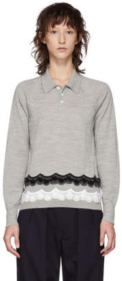 Comme des Garcons Grey Crochet Embroidered Long Sleeve Polo