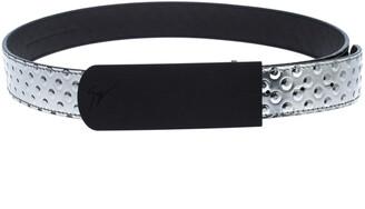 Giuseppe Zanotti Silver Studded Embossed Leather Belt Size 90CM