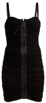 Dolce & Gabbana Ruched Tulle Lace-up Corset Dress - Womens - Black