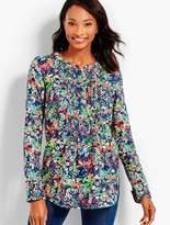 Talbots Garden Floral Pintucked Shirt
