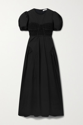 Cecilie Bahnsen Clementine Smocked Cotton-blend Poplin Maxi Dress - Black