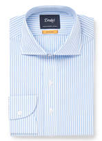 Drake's - Blue Cutaway-collar Striped Cotton Shirt