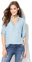 New York & Co. Soho Soft Shirt - One-Pocket Popover - Ultra-Soft Chambray