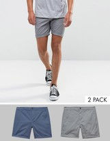 Asos 2 Pack Slim Chino Shorts In Gray & Blue SAVE