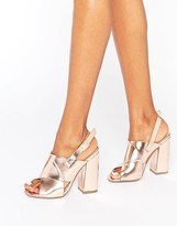 Missguided Cross Strap Block Heel Sandals Rose Gold