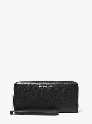 MICHAEL Michael Kors MK Jet Set Pebbled Leather Continental Wristlet - Black - Michael Kors
