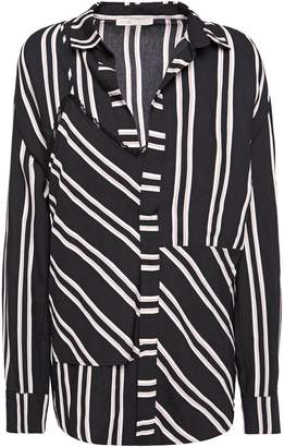 Maje Larencia Lace-trimmed Layered Striped Twill Shirt