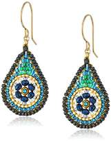 Miguel Ases Small Floral Swarovski Contrasted Teal Tear Drop Earrings
