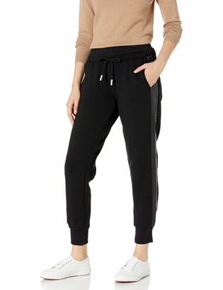 The Kooples Women's Women's Fleece Sweatpants with Side Bands Elastic Waistband and Cuffed Ankles