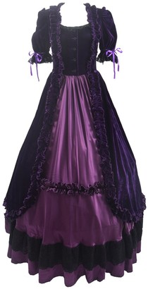 Yewei Women Lolita Blue Purple Black Dress Pleated Ruffled Victorian Gothic Velvet Dress (Blue M)