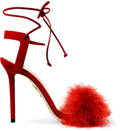 Charlotte Olympia Salsa Feather-trimmed Suede Sandals - Red