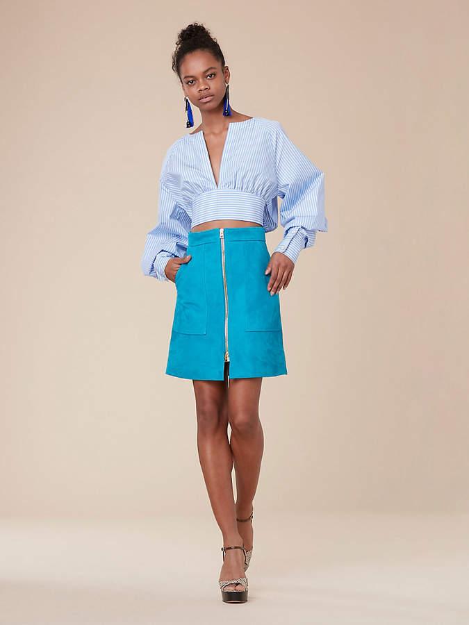 Diane von Furstenberg Suede Patch Pocket Mini Skirt