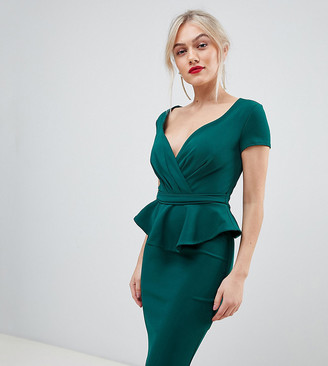 City Goddess Petite v neck peplum midi dress